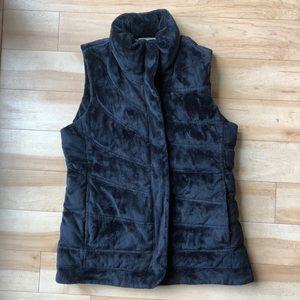 Athleta Black Super Soft Quilted Furry Vest XS